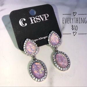 Purple rhinestone opal earrings